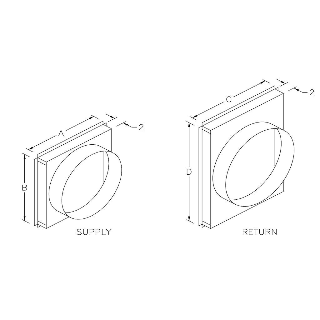 SQRPCH101-103 Square to Round Adapters